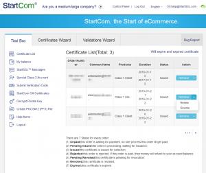 Zertifikatübersicht von StartSSL