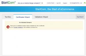 Domain nicht validiert